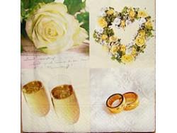 Serwetki Decoupage - Kremowy Ślub