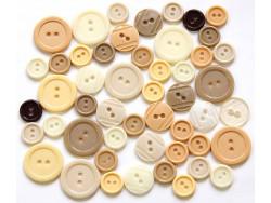 Guziki plastikowe - beżowe, kremowe, ecru