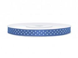 Wstążka satynowa w kropki - niebieska 6mm