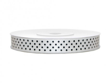 Wstążka satynowa w kropki - biała 12mm