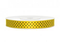 Wstążka w kropki - żółta 12mm
