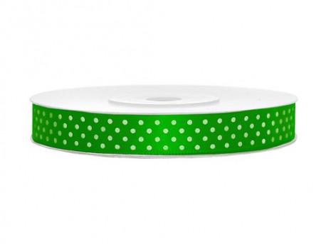 Wstążka w kropki - zielona 12mm
