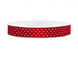 Wstążka w kropki - czerwona 12mm