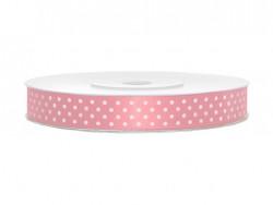 Wstążka w kropki różowa jasna 12mm w białe kropki