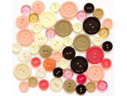 Guziki plastikowe - różowe, brązowe, beżowe