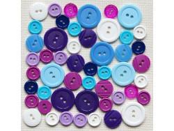 Guziki plastikowe - białe, fioletowe, niebieskie
