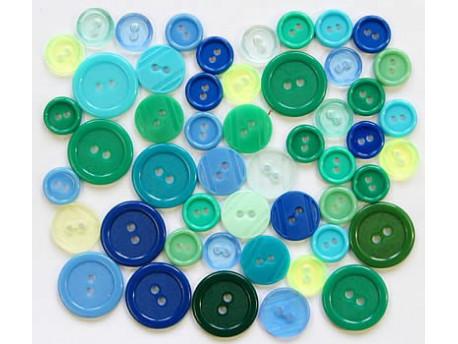 Guziki plastikowe - niebieskie zielone limonkowe