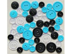 Guziki plastikowe - turkusowe, białe, czarne