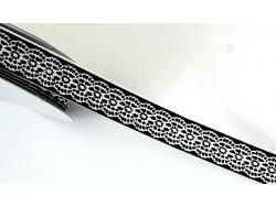 Tasiemka rypsowa jak koronka 15mm czarna