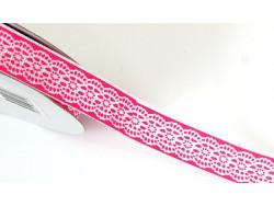 Tasiemka rypsowa jak koronka 15mm różowa