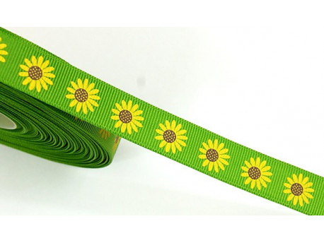 Tasiemka rypsowa słoneczniki 15mm