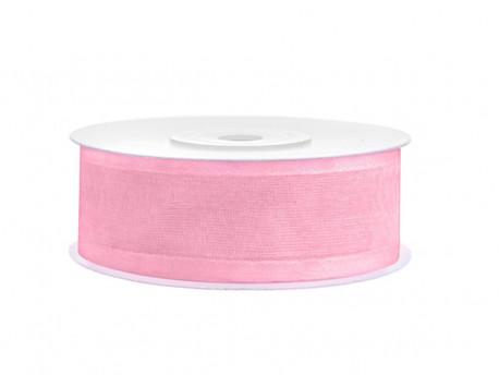 Wstążka szyfonowa z satynowym brzegiem - różowa