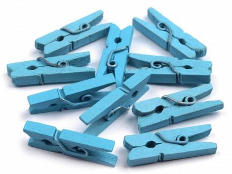Drewniane klamerki, spinacze - 2szt, błękitne