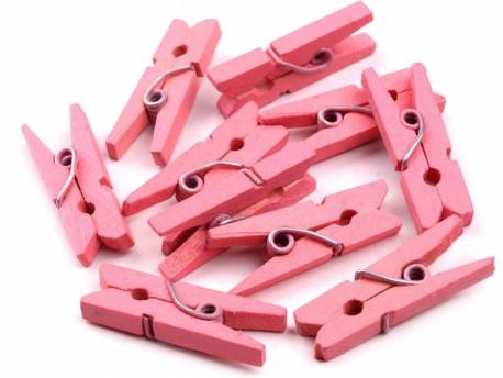 Drewniane klamerki, spinacze - 2szt, różowe
