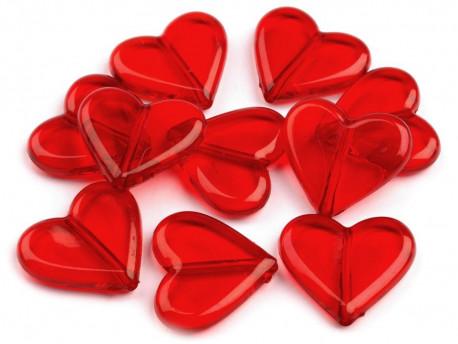 Akrylowe serca czerwone