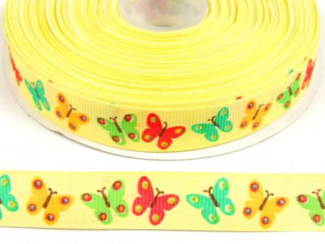 Tasiemka rypsowa 15mm motylki kolorowe