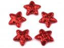 Aplikacje gwiazdki z brokatem czarwone