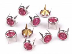 Ćwieki z kryształami 8mm różowe
