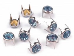 Ćwieki z kryształami 8mm błękitne