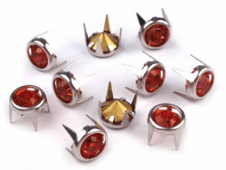 Ćwieki z kryształami 8mm czerwone
