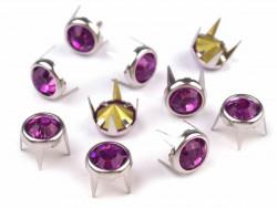 Ćwieki z kryształami 8mm fioletowe