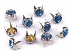 Ćwieki z kryształami 8mm niebieskie