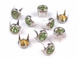 Ćwieki z kryształami 8mm zielone