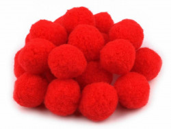 Pompony czerwone 25mm - 10szt