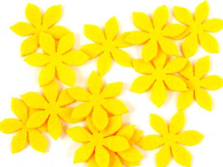 Aplikacje z filcu kwiatki żółte 5szt