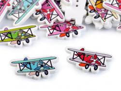 Guziki drewniane samoloty