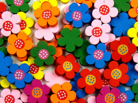 Koraliki drewniane kwiatki