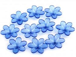 Kwiatki akrylowe 26mm niebieskie