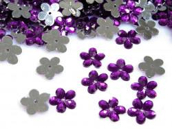 Kwiatki akrylowe 12mm purpurowe