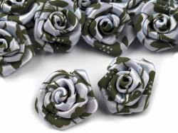 Atłasowe różyczki z nadrukiem 25mm zielona