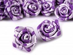 Atłasowe różyczki z nadrukiem 25mm fioletowe