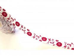 Satynowa Tasiemka - wzór kwiatki