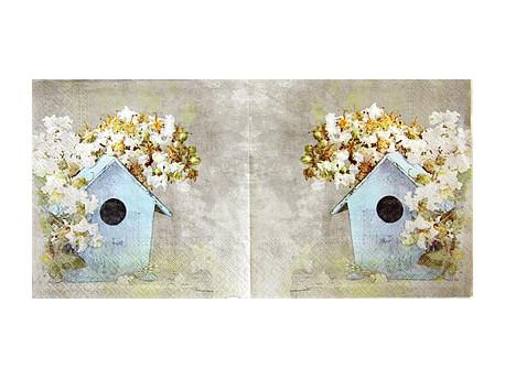 Serwetki Decoupage - Jesienny domek dla ptaków