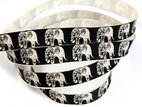 Tasiemka bawełniana 15mm czarne słonie