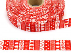 Wstążka rypsowa 20mm świąteczne ornamenty czerwone