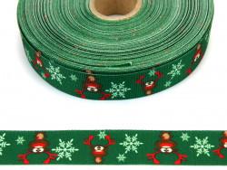 Wstążka rypsowa 20mm Rudolf zielona