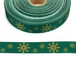 Wstążka rypsowa 20mm śnieżynki zielona