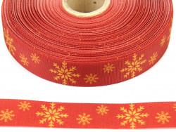Wstążka rypsowa 20mm śnieżynki czerwona