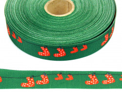 Wstążka rypsowa 20mm skarpety zielona