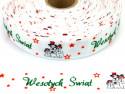 Wstążka rypsowa 20mm bałwanki Wesołych Świąt
