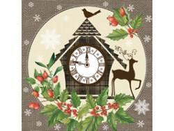 Serwetki Decoupage - Zimowy zegar