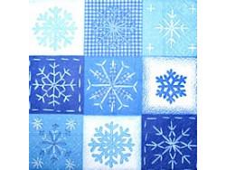 Serwetki Decoupage - Pierwsze płatki śniegu niebieskie