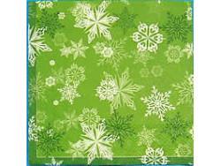 Serwetki Decoupage - Pierwsze płatki śniegu zielone