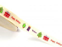 Tasiemka bawełniana 15mm Wesołych Świąt