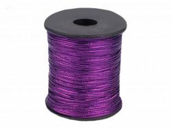 Sznurek z lureksem fioletowy płaski 1mm