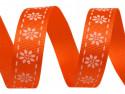 Tasiemka rypsowa 15mm kwiatki pomarańczowa